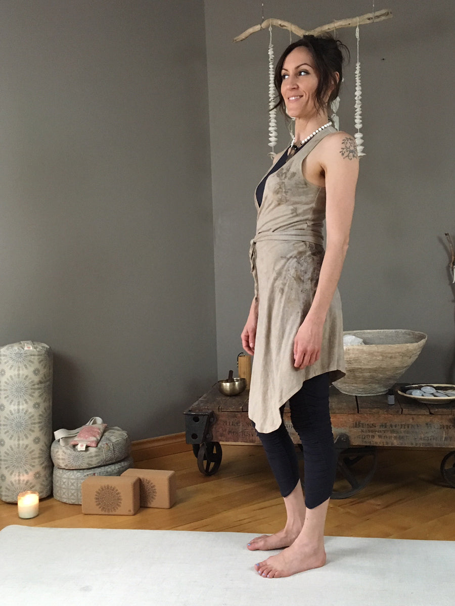 Leaf Wrap Dress - Sleeveless - Limited Edition Natural Plant Dyed
