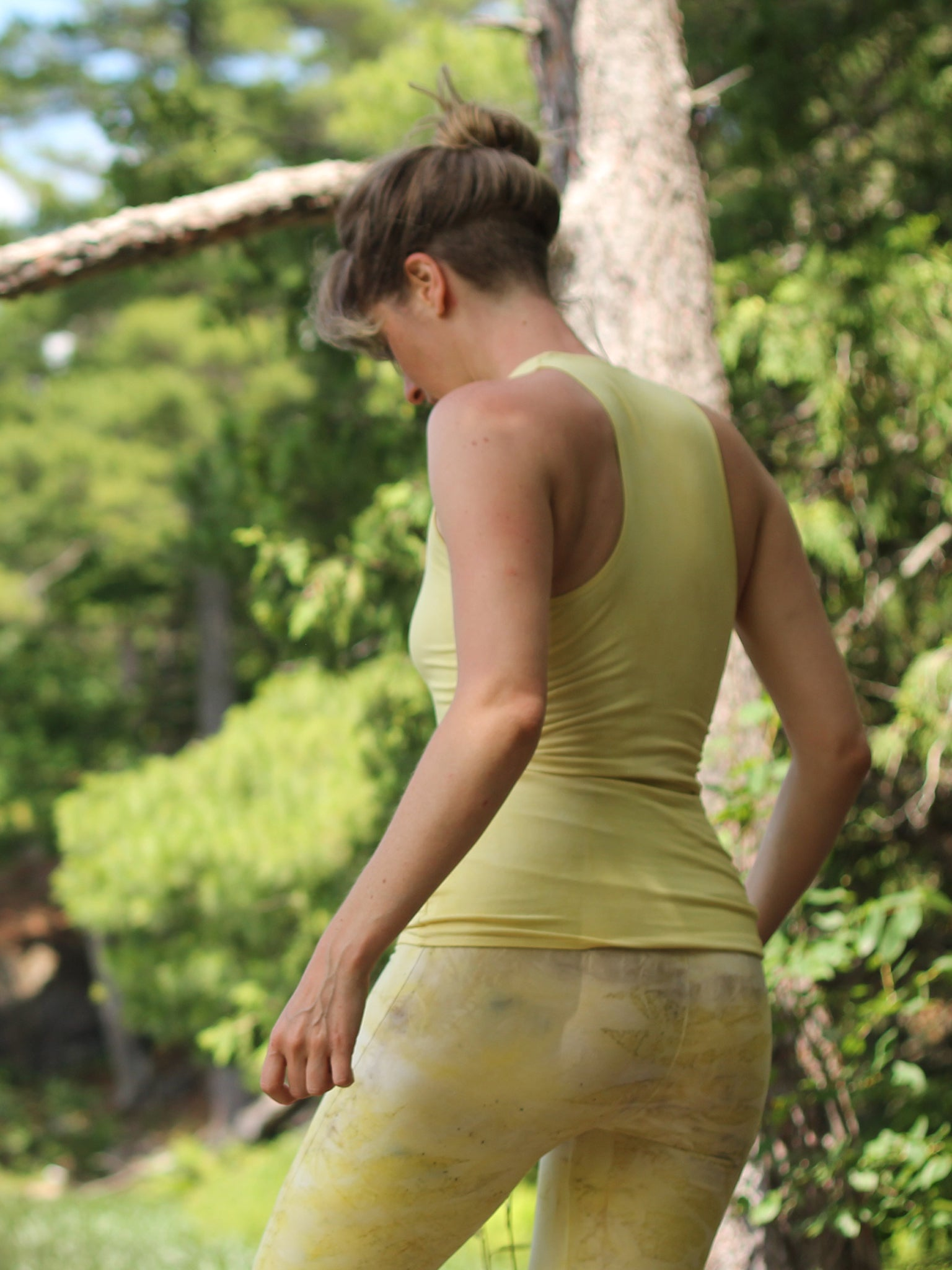 Open Shoulder Halter Yoga Tank - Limited Edition Natural Dye