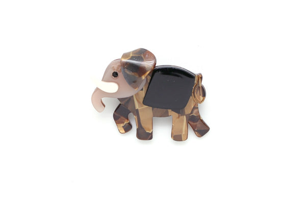 Broche Éléphant Marron