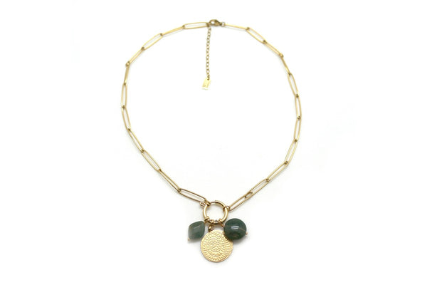 Collier Fermoir Rond Sequin Agate Verte
