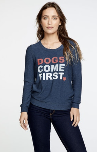 DOG CHARITY COZY KNIT CUTOUT BACK LS PULLOVER