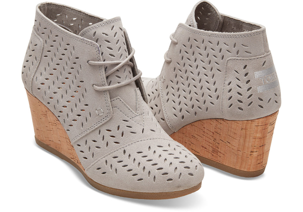 TOMS Desert Wedge Drizzle Grey Suede Perf Leaf