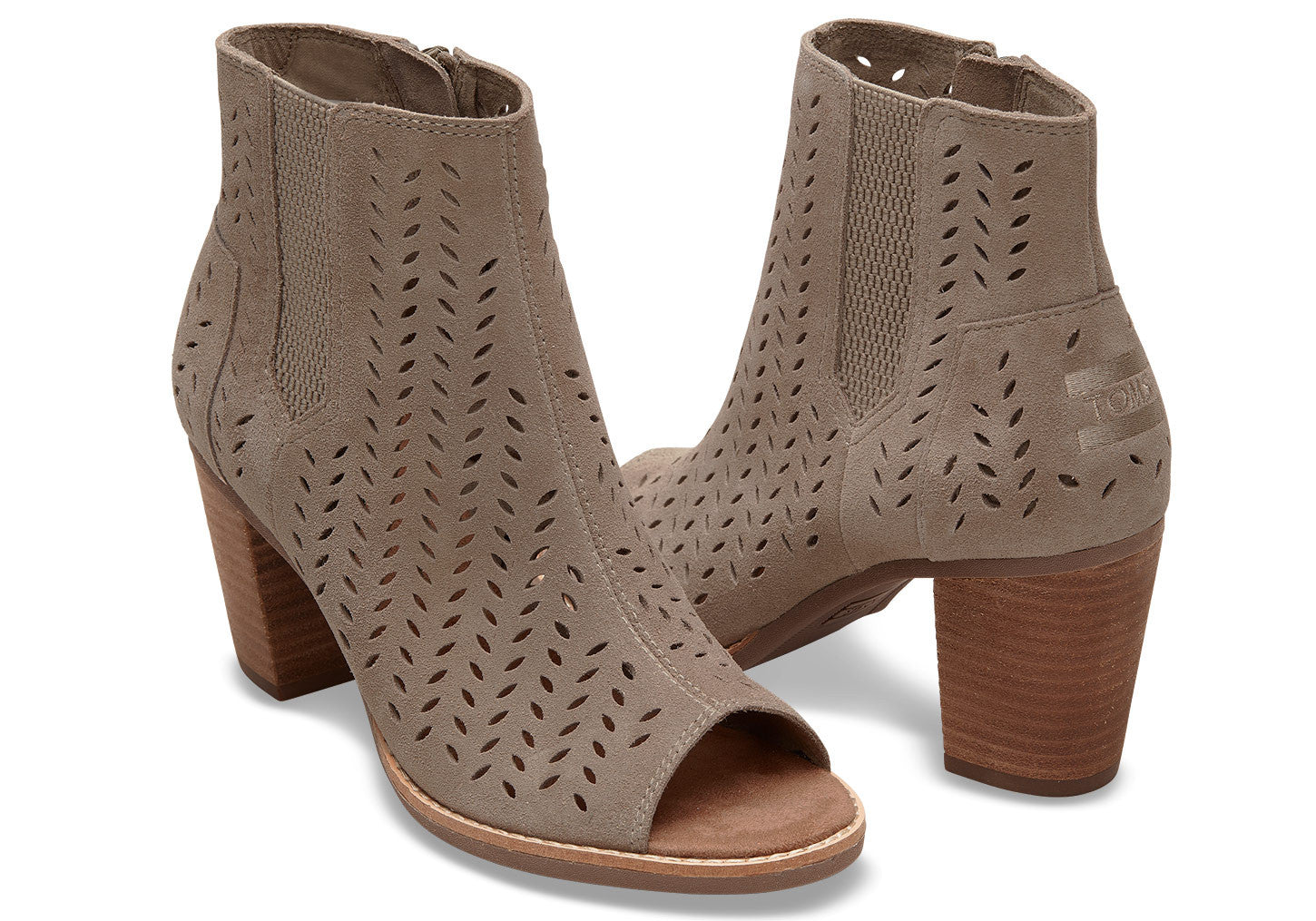 bd1708f8fd60 TOMS DESERT TAUPE SUEDE PERFORATED LEAF WOMEN S MAJORCA PEEP TOE BOOTI - T.  Georgiano s