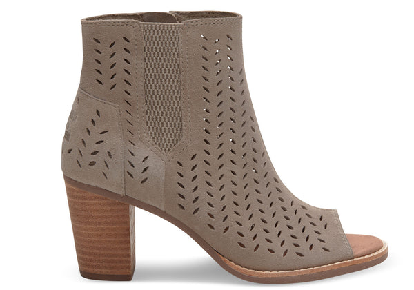 TOMS DESERT TAUPE SUEDE PERFORATED LEAF WOMEN'S MAJORCA PEEP TOE BOOTIES