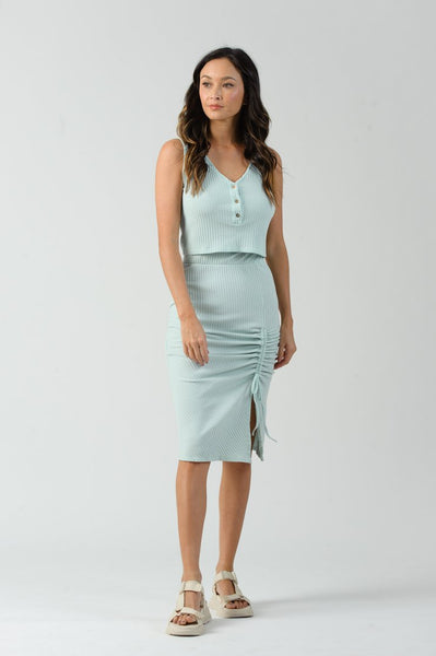 QUEEN RUCHED SLIT MIDI SKIRT
