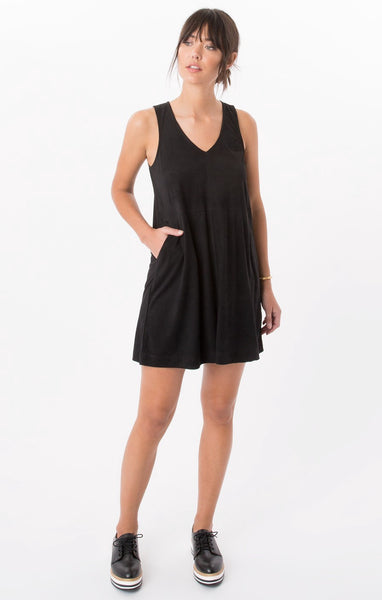The Suede V Neck Dress - T. Georgiano's