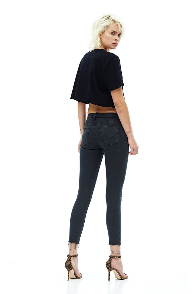 Hudson Jeans Nico Midrise Raw Hem Blackened Charcoal Deconstructed