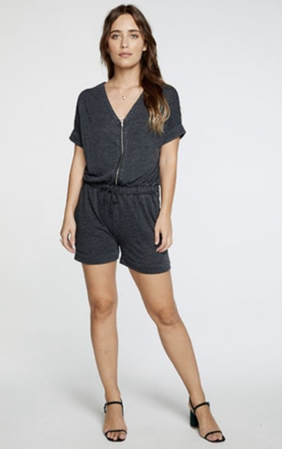 TRIBLEND JERSEY V NECK ZIP FRONT SHORTS ROMPER - T. Georgiano's