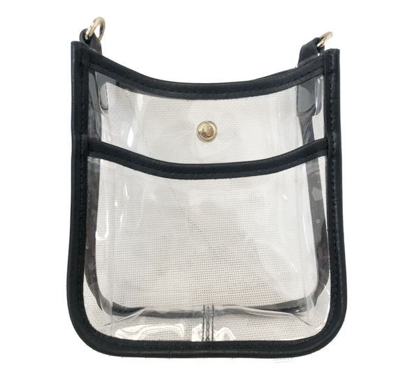 72536BCLR/Black PVC Trim Clear Petite Messenger -NO STRAP ATTACHED! - T. Georgiano's