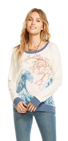 Chaser Love Knit Long Sleeve Raglan Pullover- St Tropez