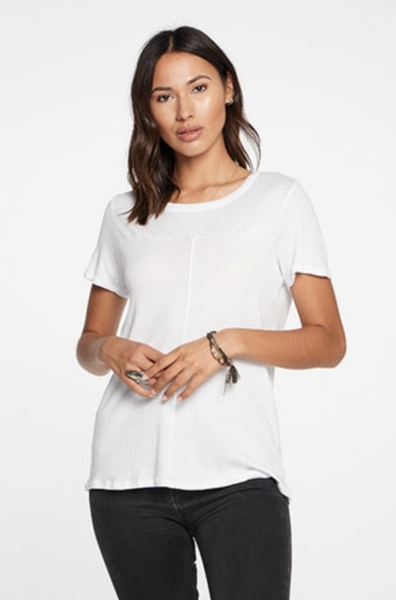 CHASER WHITE GAUZY COTTON SEAMED S/S TEE - T. Georgiano's