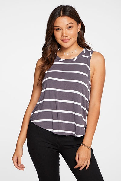 CHASER STRIPE COOL JERSEY CROPPED SHIRTTAIL EASY RACER BACK TANK, - T. Georgiano's