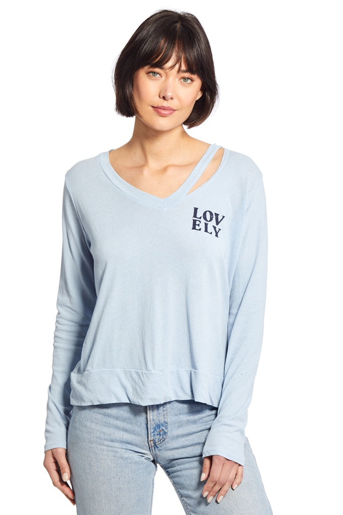 Zoe LS Cut Out Neckline Top - T. Georgiano's