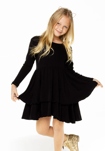 GIRLS BABY RIB LONG SLEEVE TIERED PEPLUM DRESS - T. Georgiano's