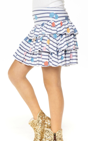 GIRLS LOVE KNIT TIERED RUFFLE SKORT - T. Georgiano's