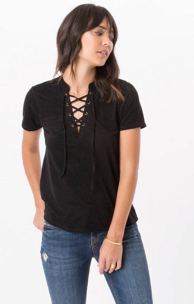 Z SUPPLY The Suede Lace-Up Top - T. Georgiano's