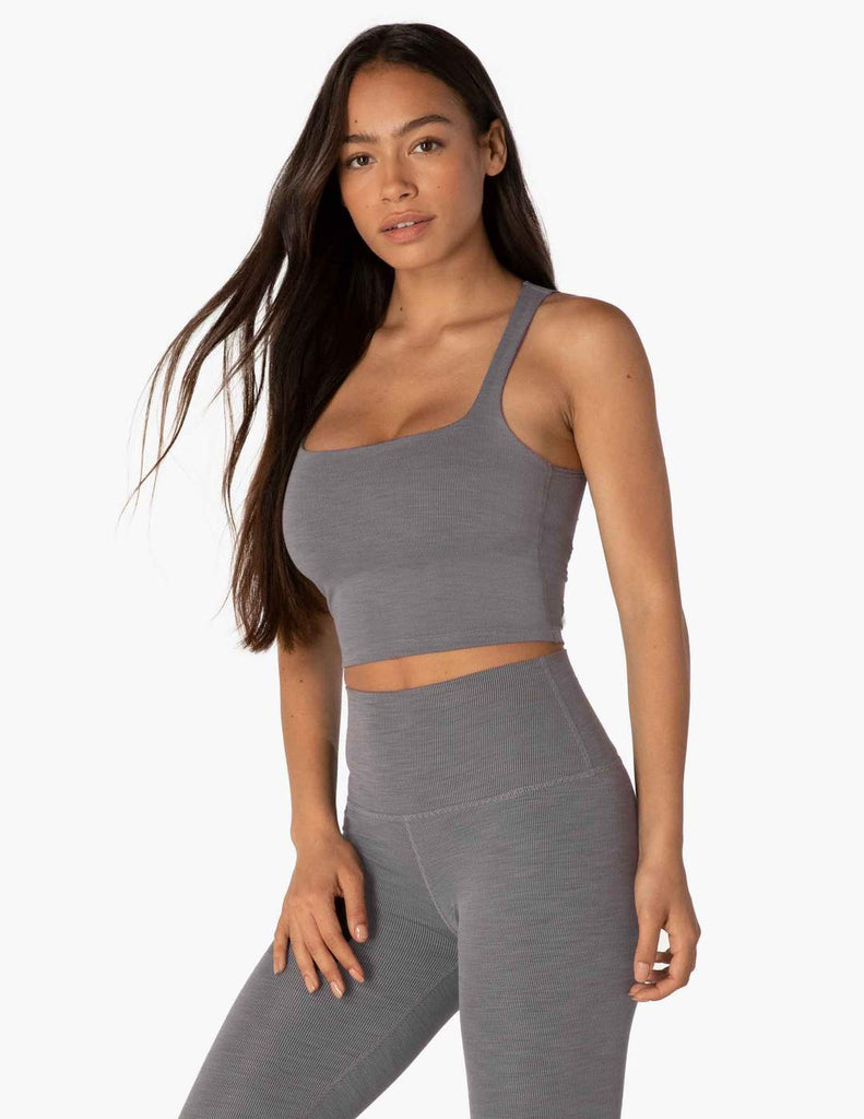 HR4492 Heather Rib Square Neck Cropped Tank - T. Georgiano's