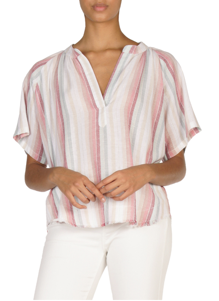 Stripe S/S Top w/V Neck - T. Georgiano's