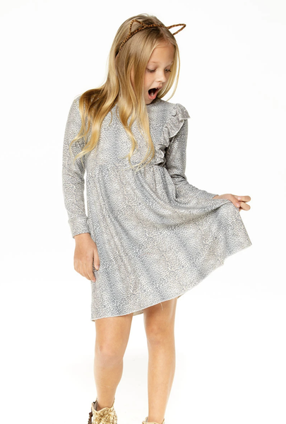 GIRLS LOVE KNIT LONG SLEEVE ASYMMETRICAL RUFFLE MINI DRESS - T. Georgiano's