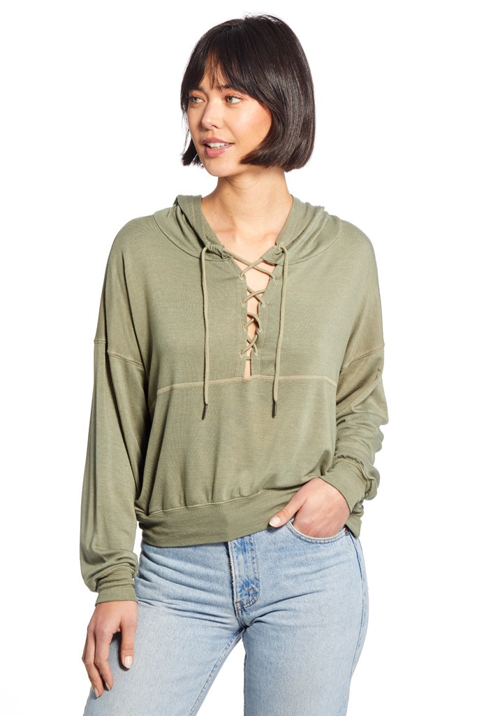 Micah Lace Up Front Hoodie - T. Georgiano's