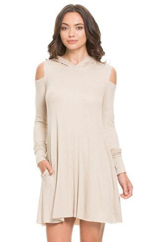Elan Dress Cold Shoulder w/ L/S & Hoodie - T. Georgiano's