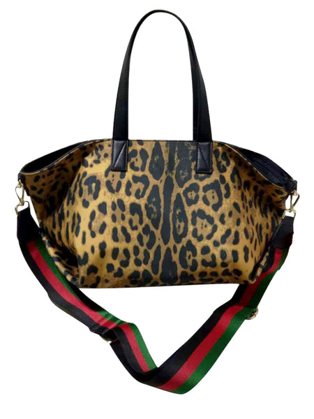 Leopard Print Nylon Tote w/Stripe w/ Adjustable Strap