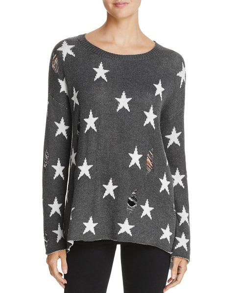 Vintage Havana Allover Star Ripped Sweater - T. Georgiano's