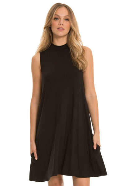 Hi-Neck Sleeveless Dress