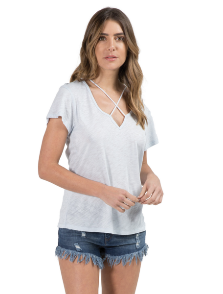 V-Neck Top w/ Cross Straps - T. Georgiano's