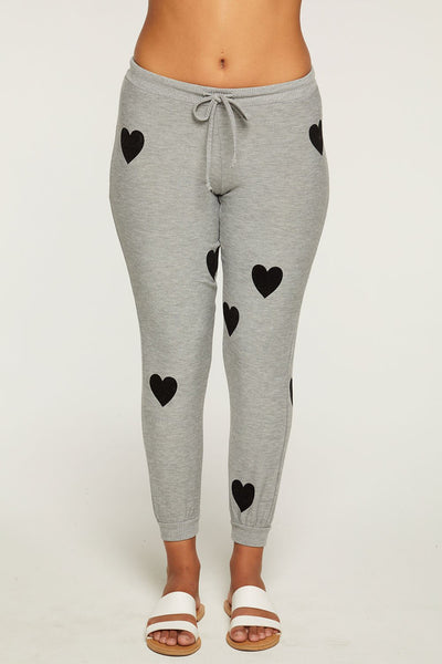CW7536 Cozy Knit Jogger Flocked Hearts - T. Georgiano's