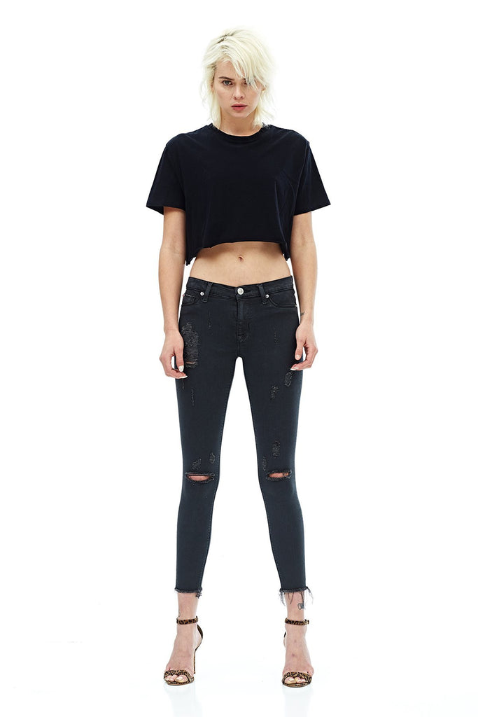 Hudson Jeans Nico Midrise Raw Hem Blackened Charcoal Deconstructed - T. Georgiano's