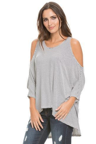 Elan Top, 3/4 Slv w/Cold Shoulder - T. Georgiano's