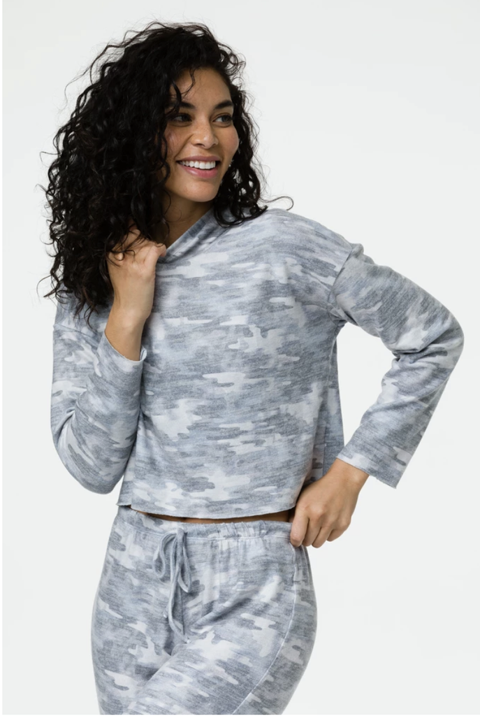 Weekend Crop Hoodie Cozy Camo - T. Georgiano's