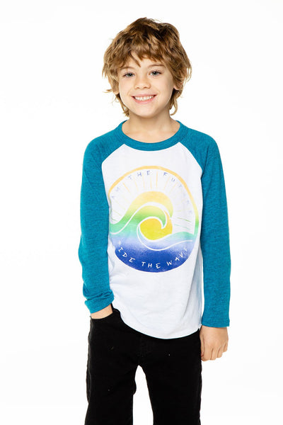WAVE OF THE FUTURE BOYS RECYCLED VINTAGE JERSEY W/ TRIBLEND L/S RAGLAN BLOCKED
