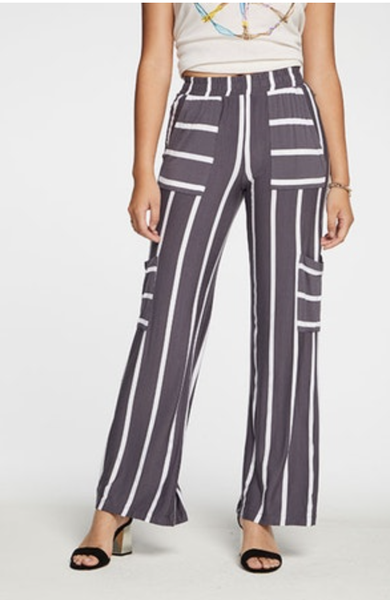 CHASER STRIPE COOL JERSEY WIDE LEG BOATING PANT,
