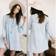 Penny Dress Chambray Stripe