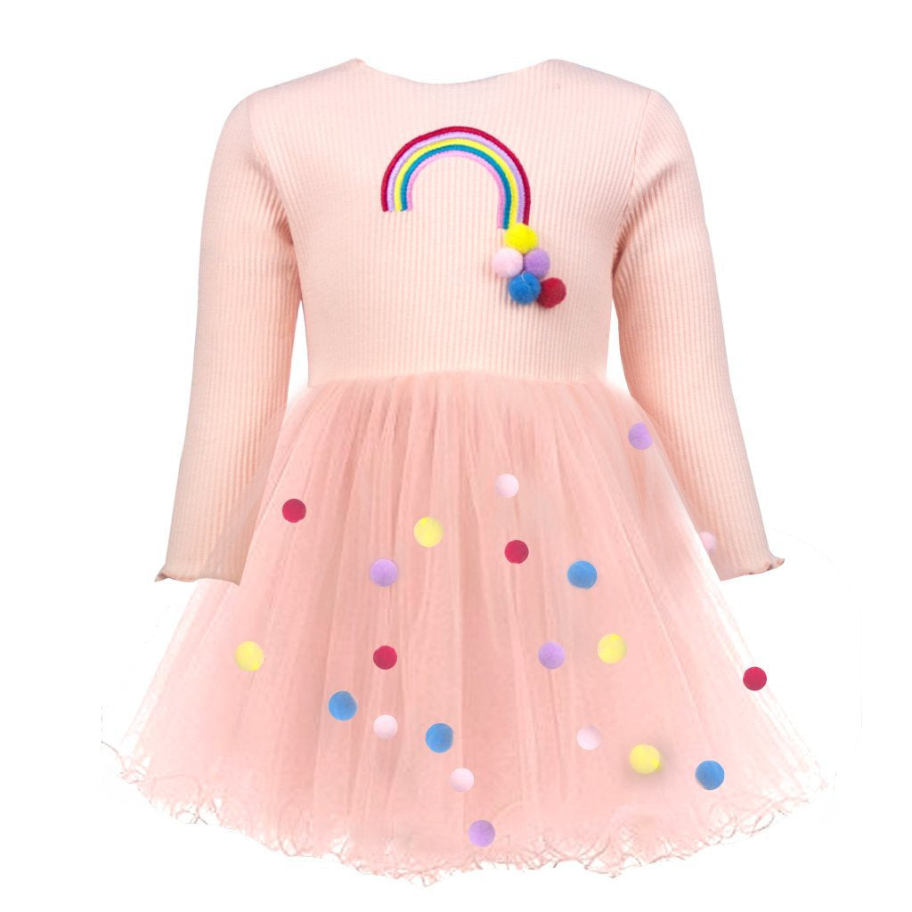 Rainbow and Pom Pom  Dress - T. Georgiano's