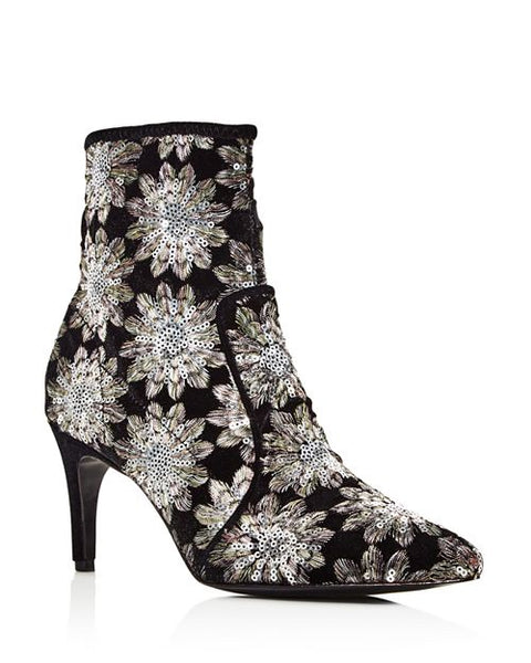 Charles David Pride Women's Pointed Toe Floral Firework Embroidered Booties
