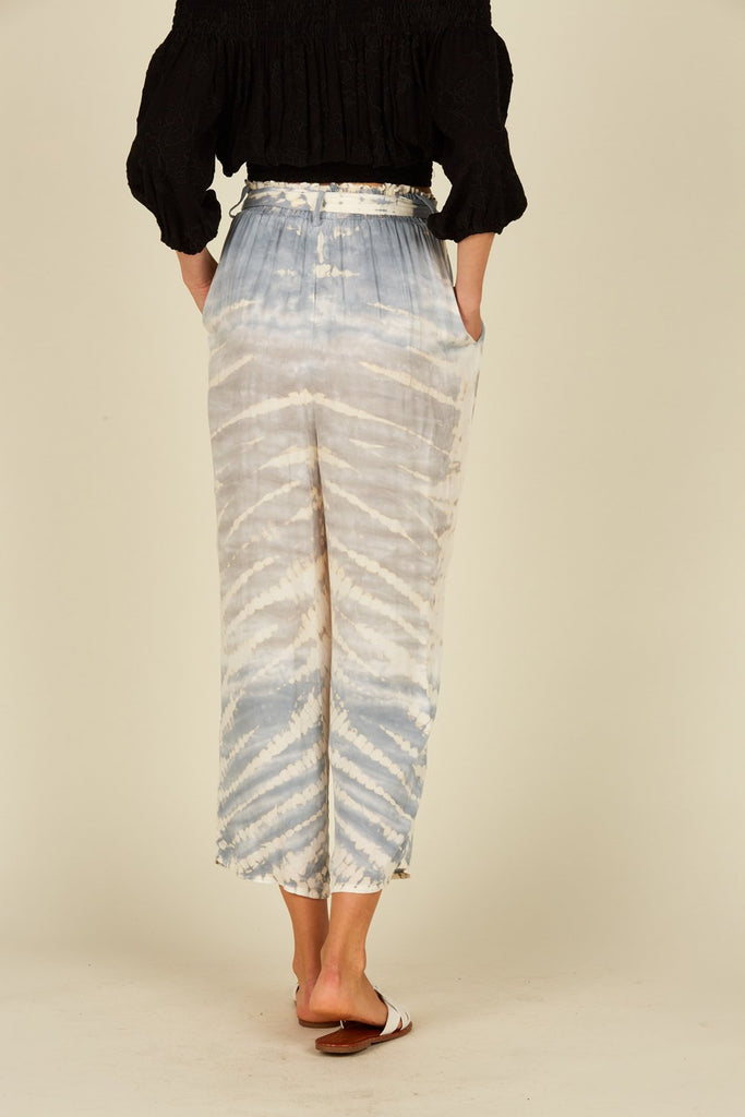 Dusty Blue/Grey Zebra Tie Dye Tie Front Wide Leg Pant - T. Georgiano's