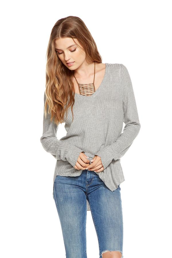 "Chaser Thermal L/S ""V"" Neck Lace-Up Back Shirttail Tee - T. Georgiano's"
