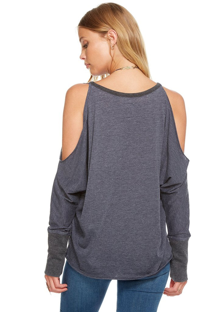 Chaser Blocked Jersey L/S Cold Shoulder Dolman