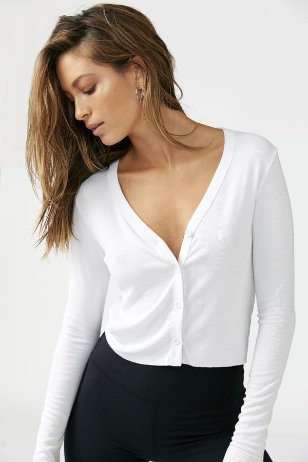 Joah Brown Cropped Button Down