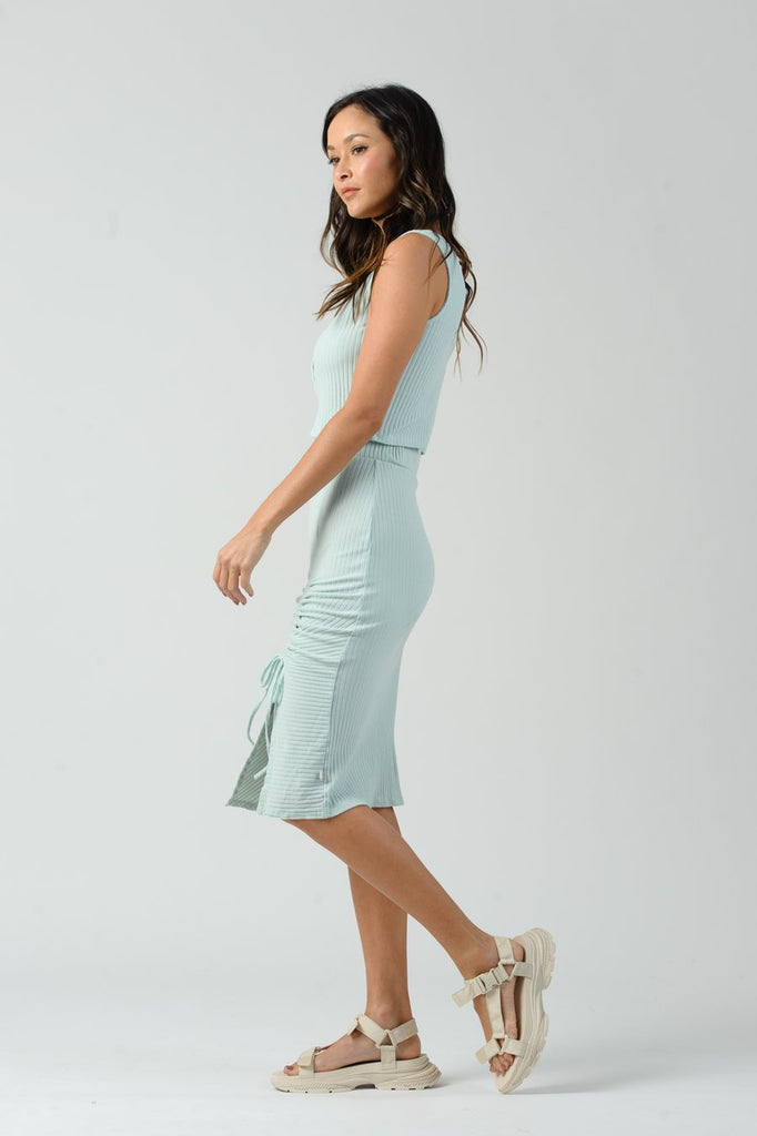 QUEEN RUCHED SLIT MIDI SKIRT - T. Georgiano's