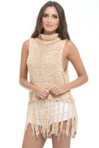 Elan Apricot Hi Neck Sleeveless Fringe