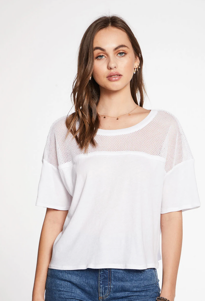Gauzy Cotton Blocked Mesh Boxy SS Tee - T. Georgiano's