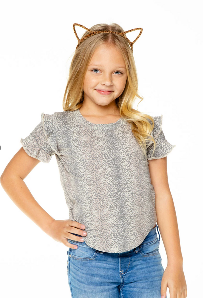 GIRLS RECYCLED VINTAGE JERSEY RUFFLE SHORT SLEEVE SHIRTTAIL - T. Georgiano's