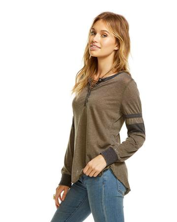 Chaser Blocked Jersey L/S Shirttail Henley (Sept. 2017)