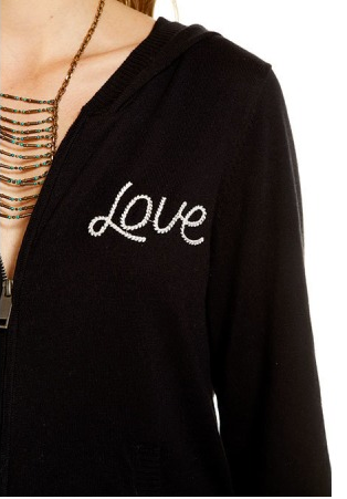 "Chaser Cotton Cashmere L/S Zip Front ""Love/Heart"" Hoodie (Sept. 2017)"