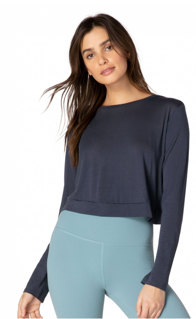 OI7592 Back Out Reversible Cropped Pullover - T. Georgiano's