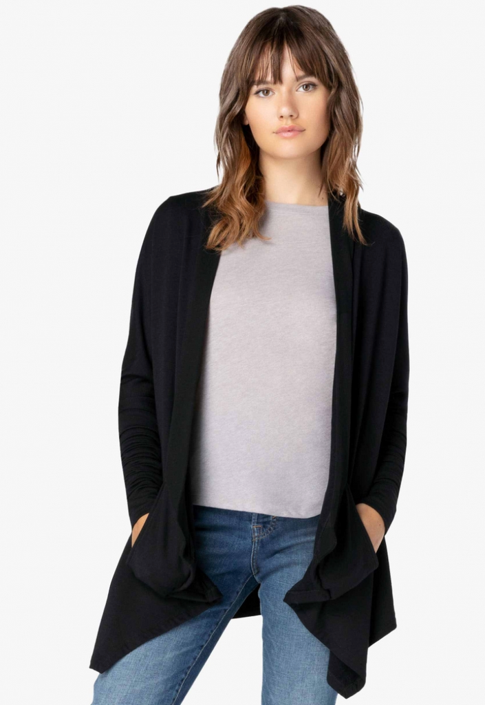 Ribbed Draped Cardigan - T. Georgiano's